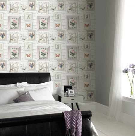 Graham & Brown White Brick Floral Frames Wallpaper