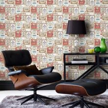 Graham & Brown Brown & Red Retro Vintage Pub Printed Wallpaper