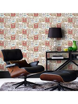 Brown & Red Retro Vintage Pub Printed Wallpaper