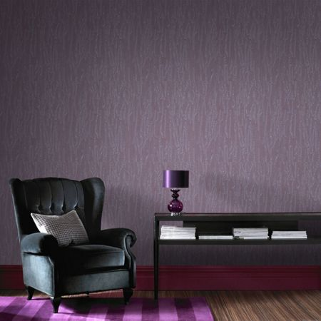 Graham & Brown Purple Crushed Silk Wallpaper
