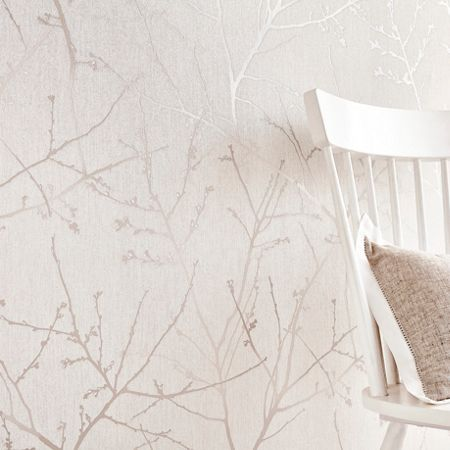 Graham & Brown Stone / Cream Innocence Wallpaper