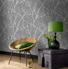 Graham & Brown Charcoal / Silver Innocence Wallpaper
