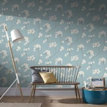 Graham & Brown Blue / Cream Radiance Wallpaper