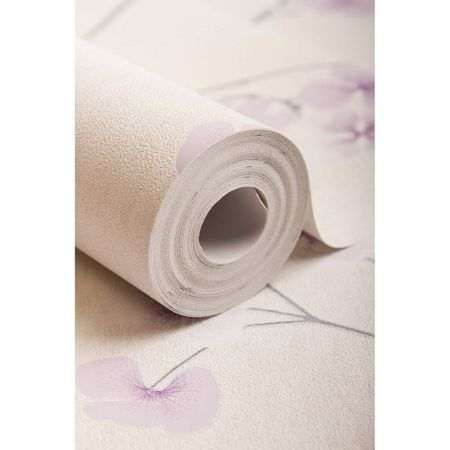 Graham & Brown White / Lavender Radiance Wallpaper