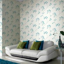 Graham & Brown Teal / White Radiance Wallpaper