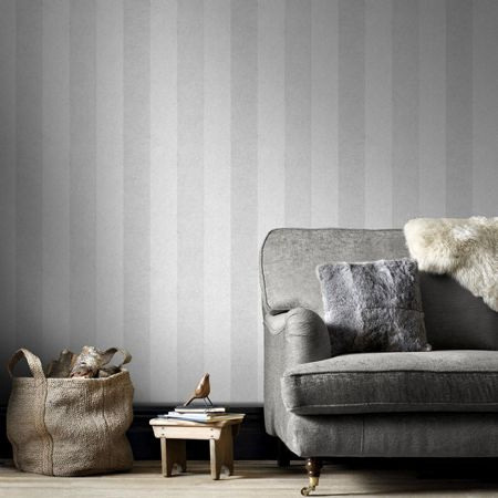 Graham & Brown Silver Artisan Stripe Wallpaper
