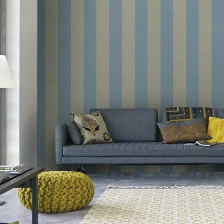Graham & Brown Blue Artisan Stripe Wallpaper