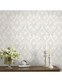 Royale Glitter Textured Damask Silver/White Wallp