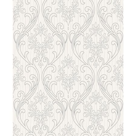 Graham & Brown Royale Glitter Textured Damask Silver/White Wallp
