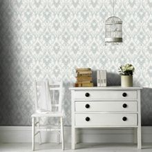 Graham & Brown Duck Egg / White Royale Wallpaper