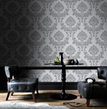 Graham & Brown Silver / Grey Dynasty Wallpaper 10m