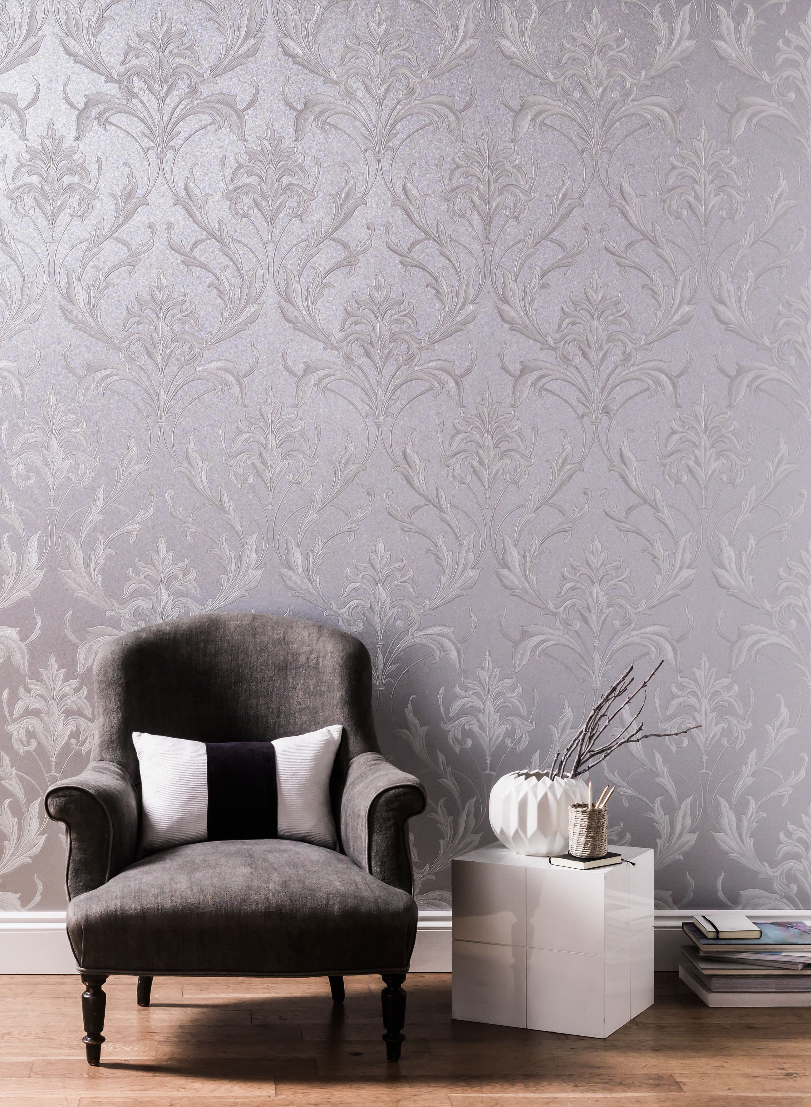 Graham Brown Silver Grey Oxford Wallpaper Bluewater