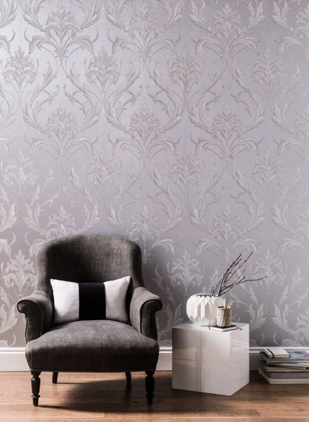 Graham & Brown Silver / Grey Oxford Wallpaper