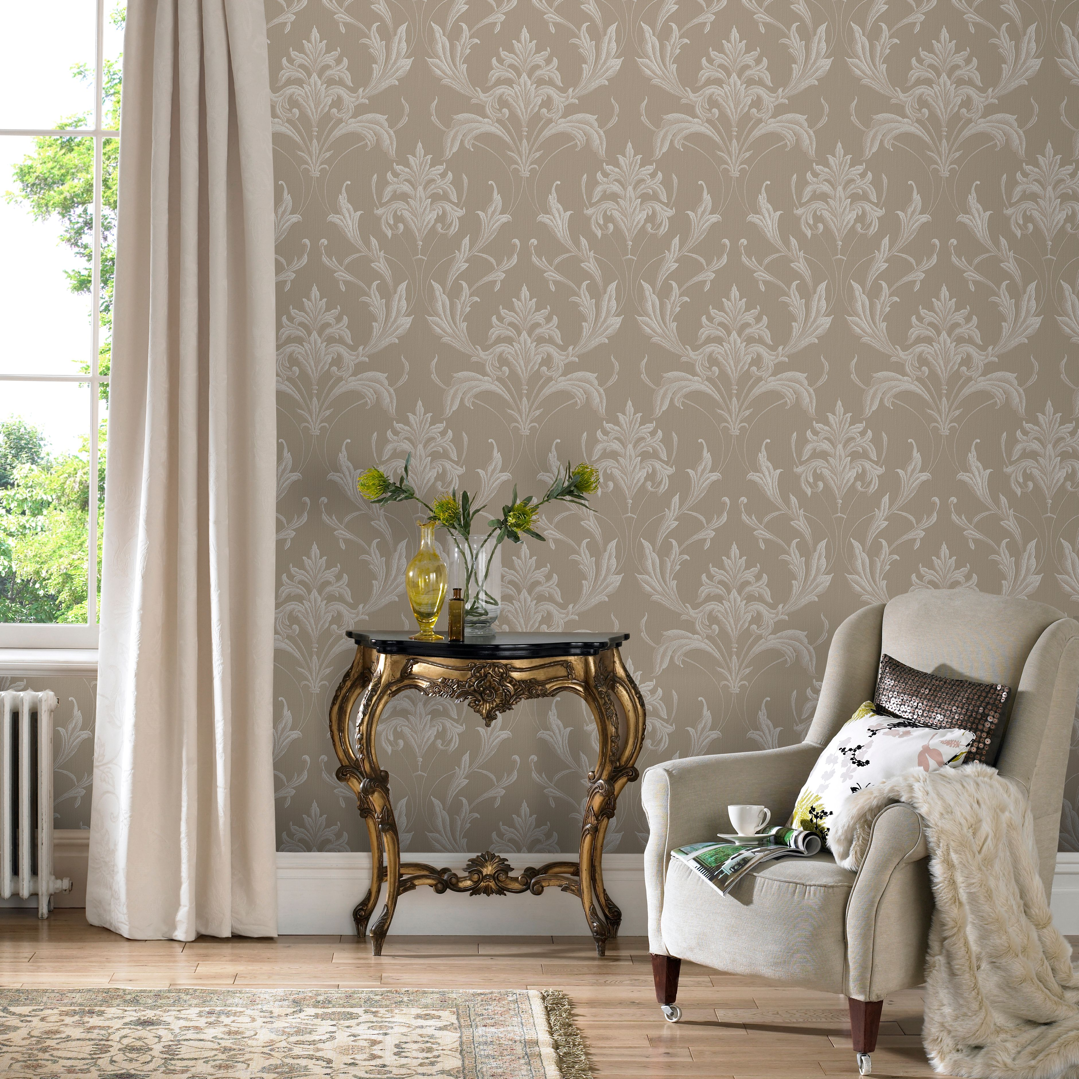 Graham brown gold natural oxford wallpaper gold for Taupe wallpaper living room