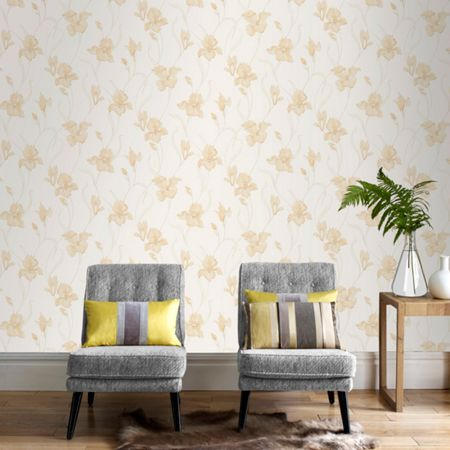 Graham & Brown Cream Iris Natural Wallpaper