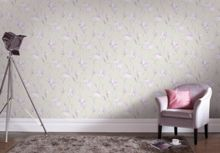Graham & Brown Grey & Lilac Iris Floral Wallpaper