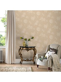Cream Vintage Boutique Floral Wallpaper