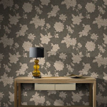 Graham & Brown Brown & Gold Boutique Floral Wallpaper