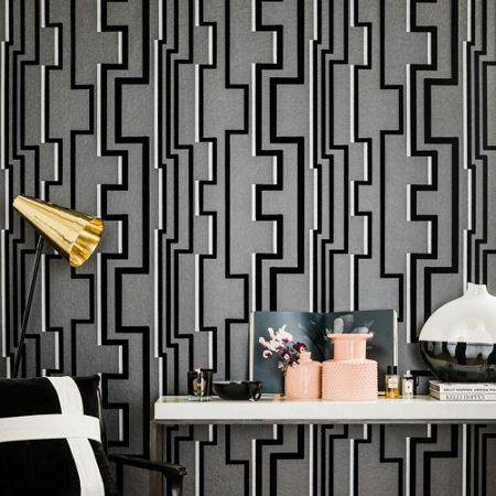 Graham & Brown Black & Grey Geometric Groove Flock Wallpaper