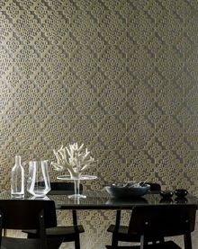 Graham & Brown Taupe Geometric Twist Flock Wallpaper