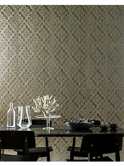 Taupe Geometric Twist Flock Wallpaper