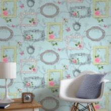 Graham & Brown Blue Vintage Floral Frames Wallpaper