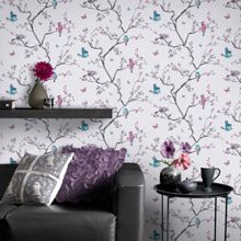 Graham & Brown Pink and Blue Oriental Mai Wallpaper