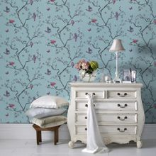 Graham & Brown Blue Mai Bird in Tree Wallpaper