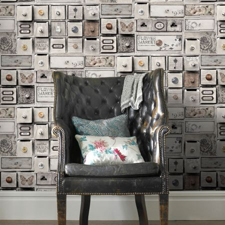 Graham & Brown Grey Trinket Box Patterned Wallpaper