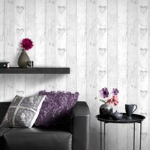 Graham & Brown Wood Panel Effect Wallpaper with Love Heart Motif