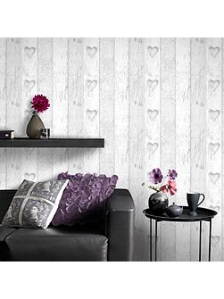 Wood Panel Effect Wallpaper with Love Heart Motif