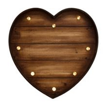 Graham & Brown Lit Wood Effect Heart Shaped Art
