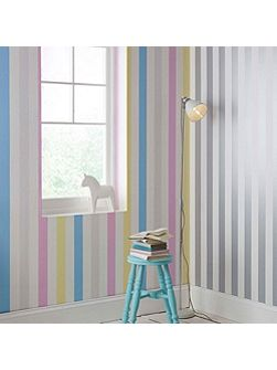 Multi coloured Cotton Candy Striped Wallpaper