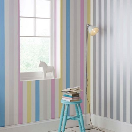 Graham & Brown Multi coloured Cotton Candy Striped Wallpaper