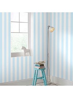 Pastel Blue & White Striped Wallpaper