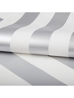 White & Silver Striped Wallpaper