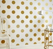 Graham & Brown White & Gold Dotty Polkadot Wallpaper