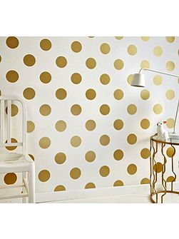 White & Gold Dotty Polkadot Wallpaper