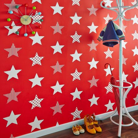 Graham & Brown Red & White Stars Wallpaper