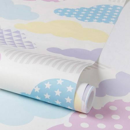 Graham & Brown Multi Coloured Pastel Clouds Wallpaper