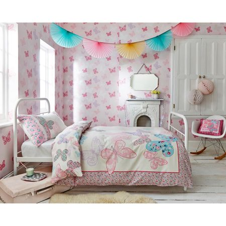 Graham & Brown Girls Pink Butterfly Wallpaper