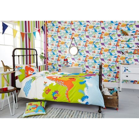 Graham & Brown Kids Bedroom Bright Dinosaurs Wallpaper