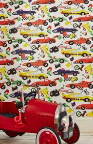 Graham & Brown Boys Multi Coloured Racing Car Pit Stop Wallpaper