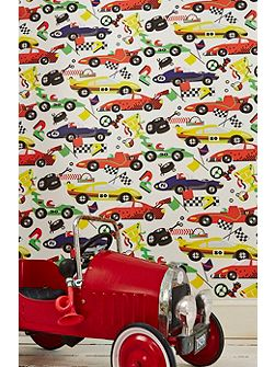 Boys Multi Coloured Racing Car Pit Stop Wallpaper