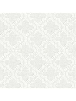 Paloma Geometric Paintable White Wallpaper