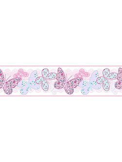 Kids Butterfly Pink Multi Wall Border