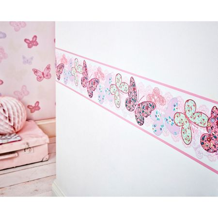 Graham & Brown Kids Butterfly Pink Multi Wall Border