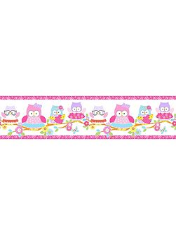 Kids Olive The Owl Pink Multi Wall Border