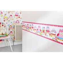 Graham & Brown Kids Olive The Owl Pink Multi Wall Border
