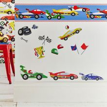 Graham & Brown Kids Pit Stop Cars Multi Border